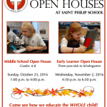 Saint Philip School Announces Dates for Middle School and Early Learner Open Houses